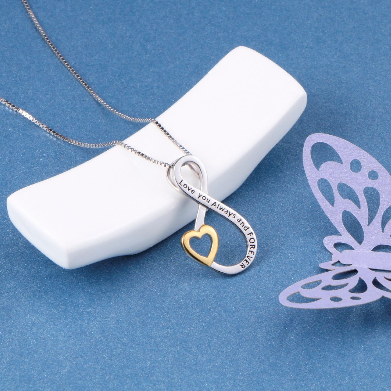 CS-DB Love You Always and Forever Love Infinity Top Stylish Silver Necklaces Pendants