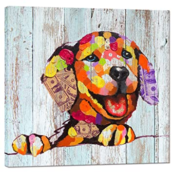 Visual Art Decor Vintage Happy Dog On Wood Background Creative Wall Art Animals Canvas Print Framed And Stretched Home Decor Retro Dog