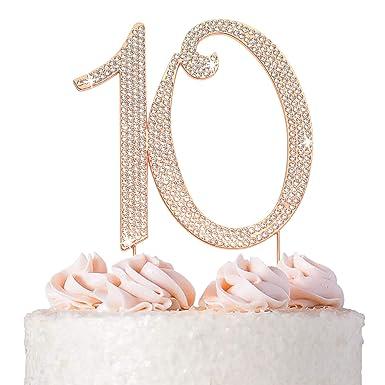 Nº 10 6 cm Strass AB Aurora Diamond Silver Cake Topper Anniversaire Anniversaire
