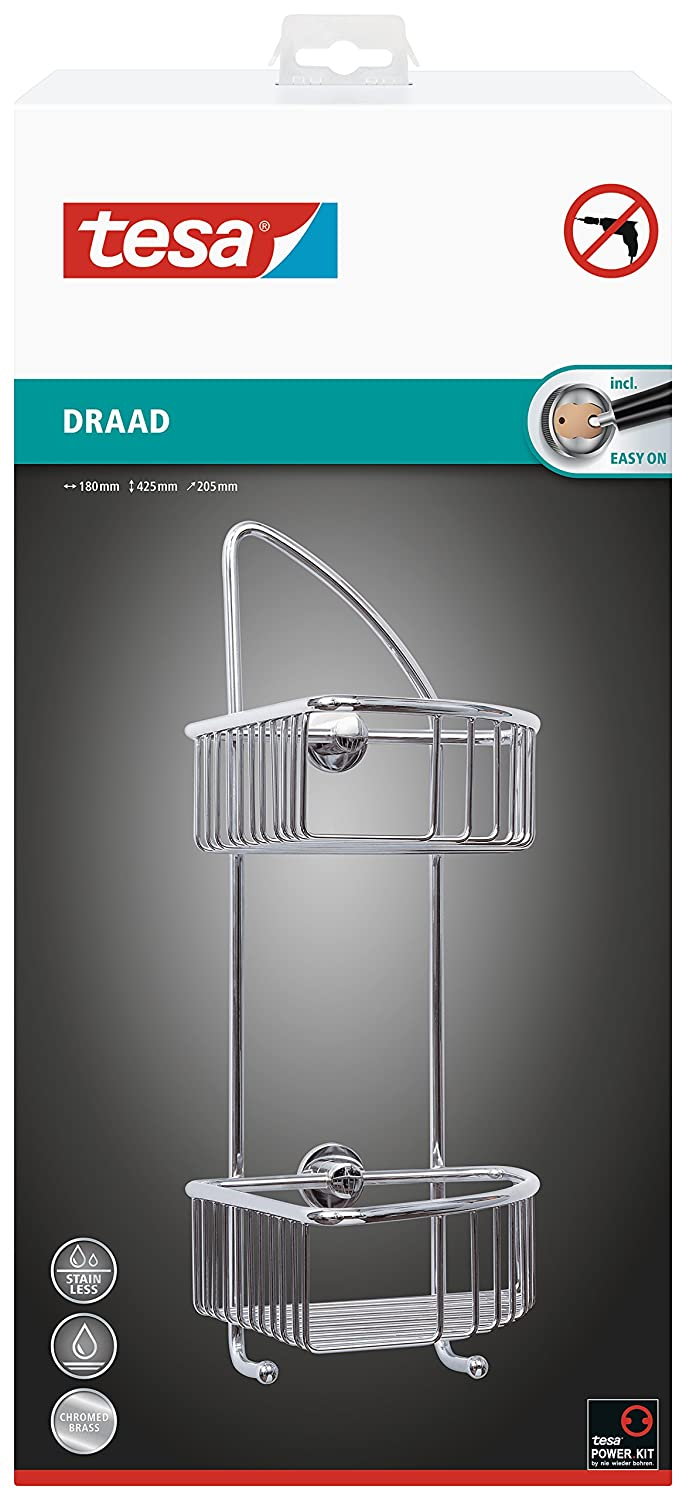 Tesa draad 425mm x 180mm x 205mm Double Hook Corner Shower Caddy - Chrome Plated Brass with Adhesive Solution 40223-00000-00