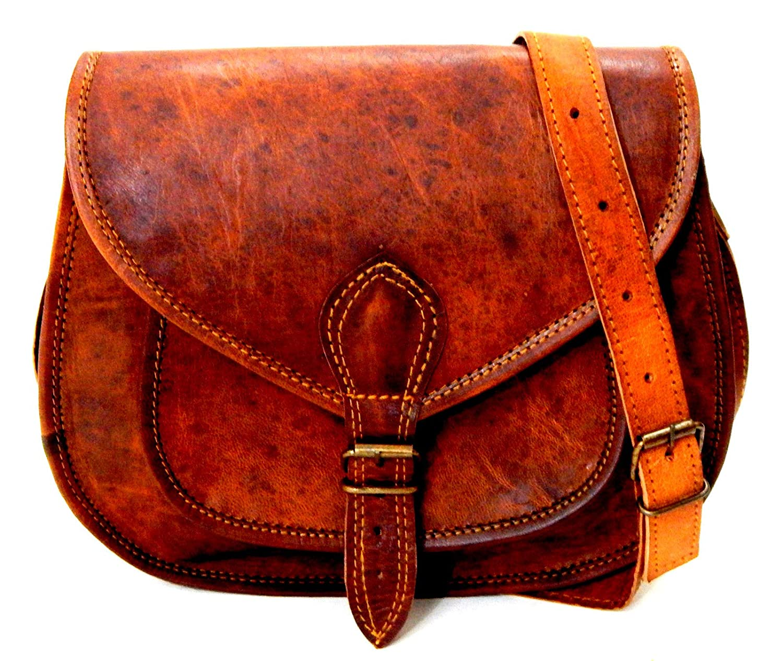 ad66299c1faa Firu-Handmade Women Vintage Style Genuine Brown Leather Crossbody Shoulder  Bag Handmade Purse  Handbags  Amazon.com