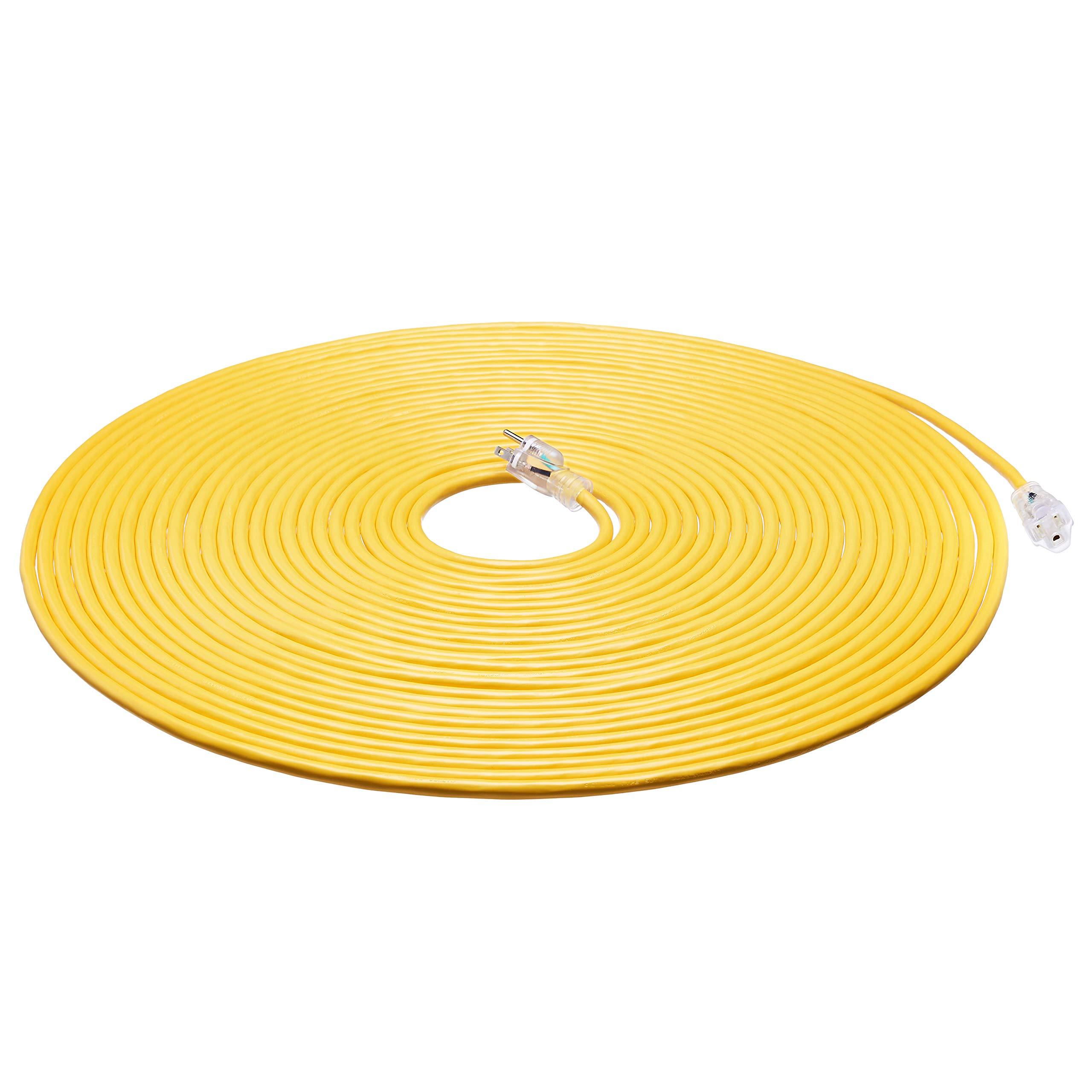 AmazonBasics 12/3 Heavy Duty SJTW Lighted Extension Cord, Yellow, 100 Foot