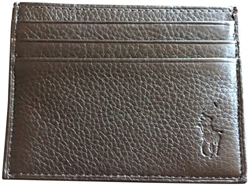 30fa5225baf3 Image Unavailable. Image not available for. Colour: Polo Ralph Lauren Men  Big Pony Logo Pebbled Leather Slim Card Case Wallet Brown