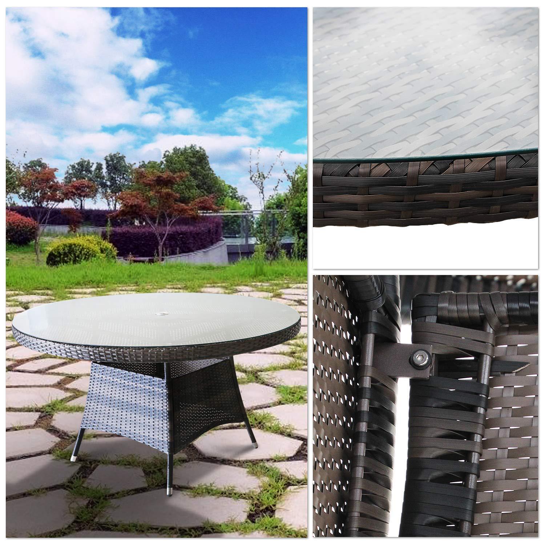 Amazon.com: Juego de muebles de jardín de mimbre para ...