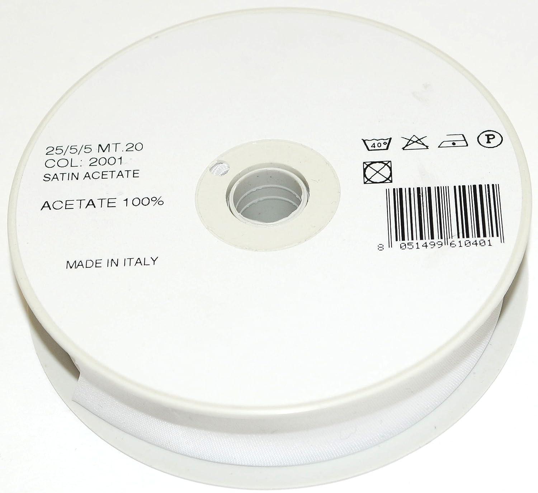 White 2001 Inastri 25// 5// 5 Acetate Satin Bias Binding