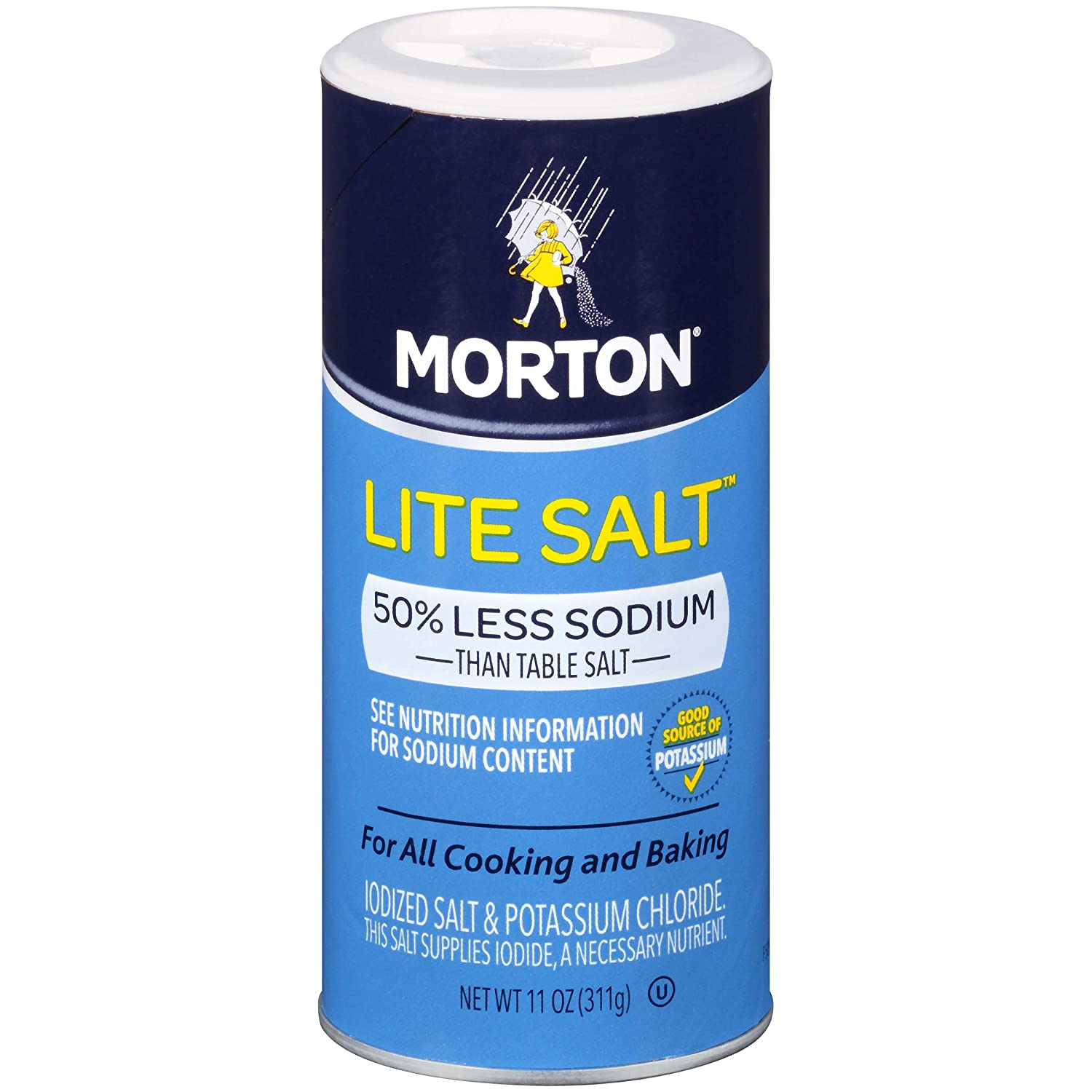 Morton Lite Salt, 11 Ounce Canister (Pack of 12) : Salt Substitutes : Grocery & Gourmet Food