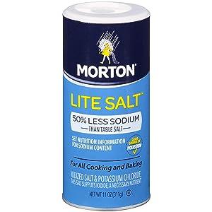 Morton Lite Salt, 11 Ounce Canister (Pack of 12)
