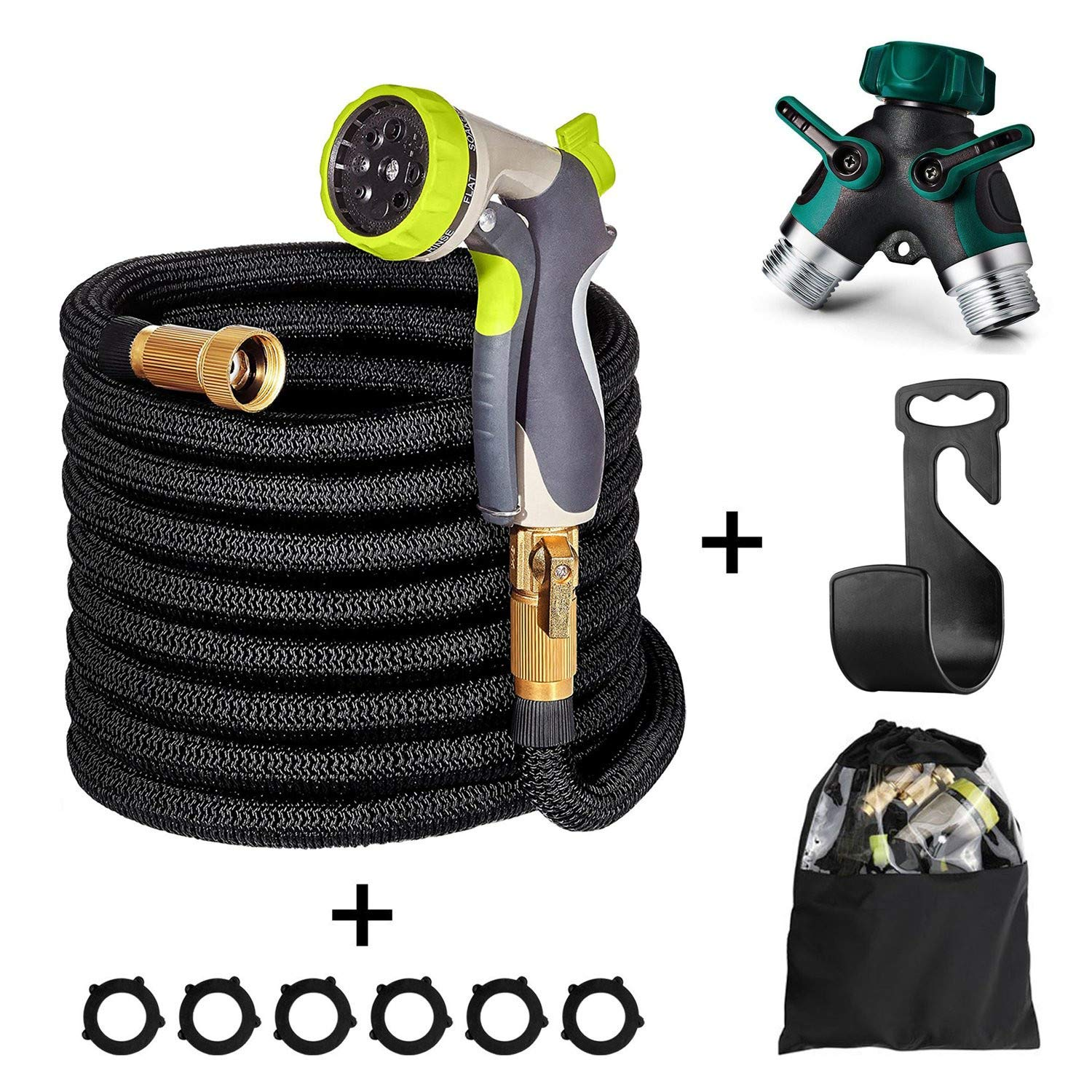 Yamoo Premium Hose - 75ft Flexible Expandable High Pressure Water Garden Hose with All Brass Connectors, Heavy Duty Metal 8-Way Spray Nozzle, Wall Mount, 2 Way Y Hose Connector, and Storage Bag