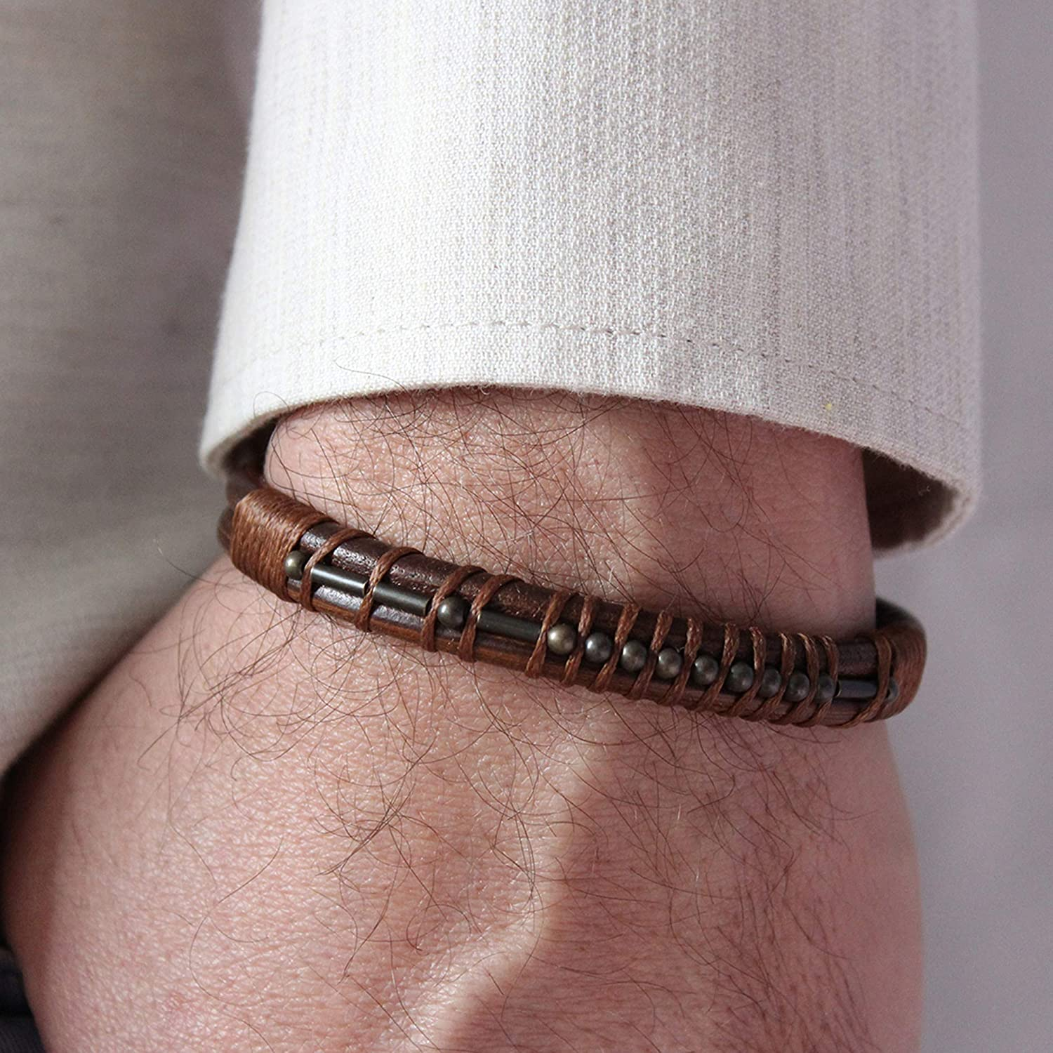 Morse Code Bracelet Mens Leather Bracelet Personalized Anniversary Gifts for Him Memorial Gift Boyfriend Dad Son Christmas Gift for Him