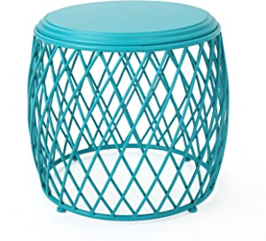 "Christopher Knight Home Alamera Outdoor 19"" Lattice Iron Side Table, Matte Teal"