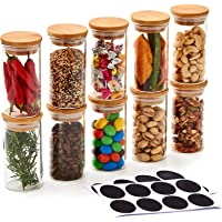 EZOWare 10 Bottles Glass Jar Set, Small Air Tight Canister Storage Containers with Natural Bamboo Lids and Chalkboard…