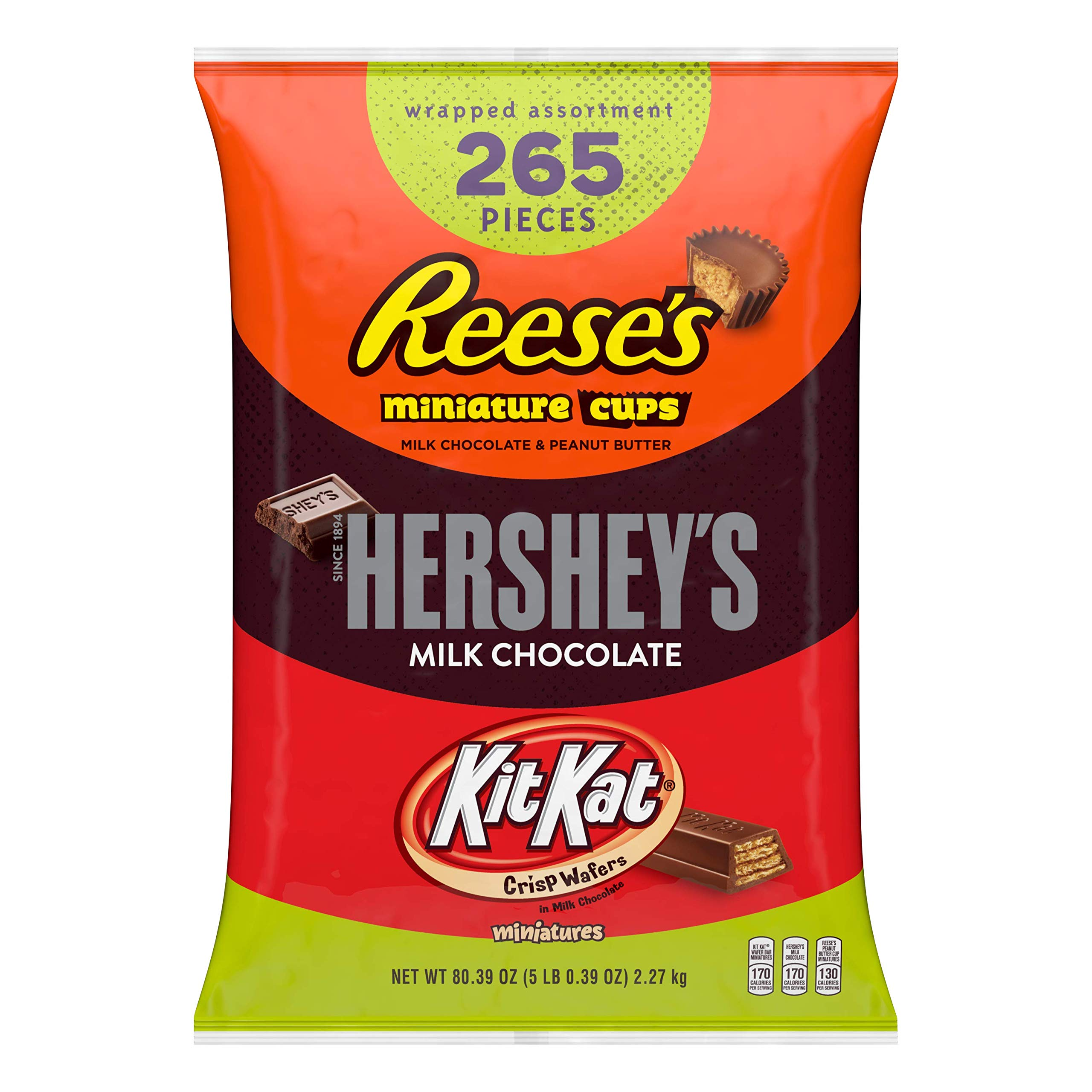 HERSHEY'S Halloween Candy, Variety Mix, Bulk Chocolate Candy , HERSHEY'S, REESE'S, and KIT KAT, 265 Pieces, 5 Pounds by HERSHEY'S
