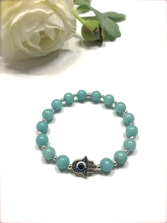 Natural Blue Amazonite Stone Stretch Bracelet. Hamza Charm, Evil Eye, Envy Protection. Heart and Throat Chakra Balance.
