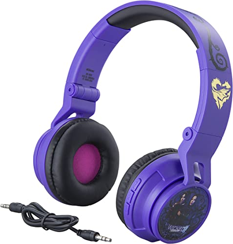 eKids Descendants Kids Bluetooth Headphones for Kids Wireless Rechargeable Foldable Bluetooth Headphones with Microphone Kid Friendly Sound and Bonus Detachable Cord, DE-B50v9M