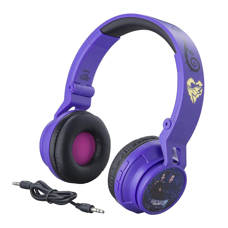 eKids Descendants Kids Bluetooth Headphones for Kids Wireless Rechargeable Foldable Bluetooth Headphones with Microphone Kid Friendly Sound and Bonus Detachable Cord, DE-B50v9M