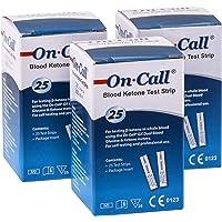 On Call GK Dual Ketone Teststreifen im günstigen 3-er Pack | 3 x 25 Stück passend für den GK Dual Blood Glucose & Ketone Meter | zur laborgenauen Messung von Blut-beta-Keton