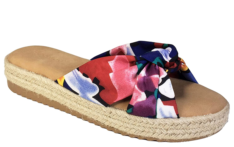 75603ad79f4 BAMBOO Women's Knotted Cross Band Espadrilles Platform Slide Sandal