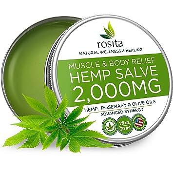 Pain Relief Hemp Oil Salve - 2000 MG - Max Strength & Efficiency - 100%  Natural Ointment - Hemp