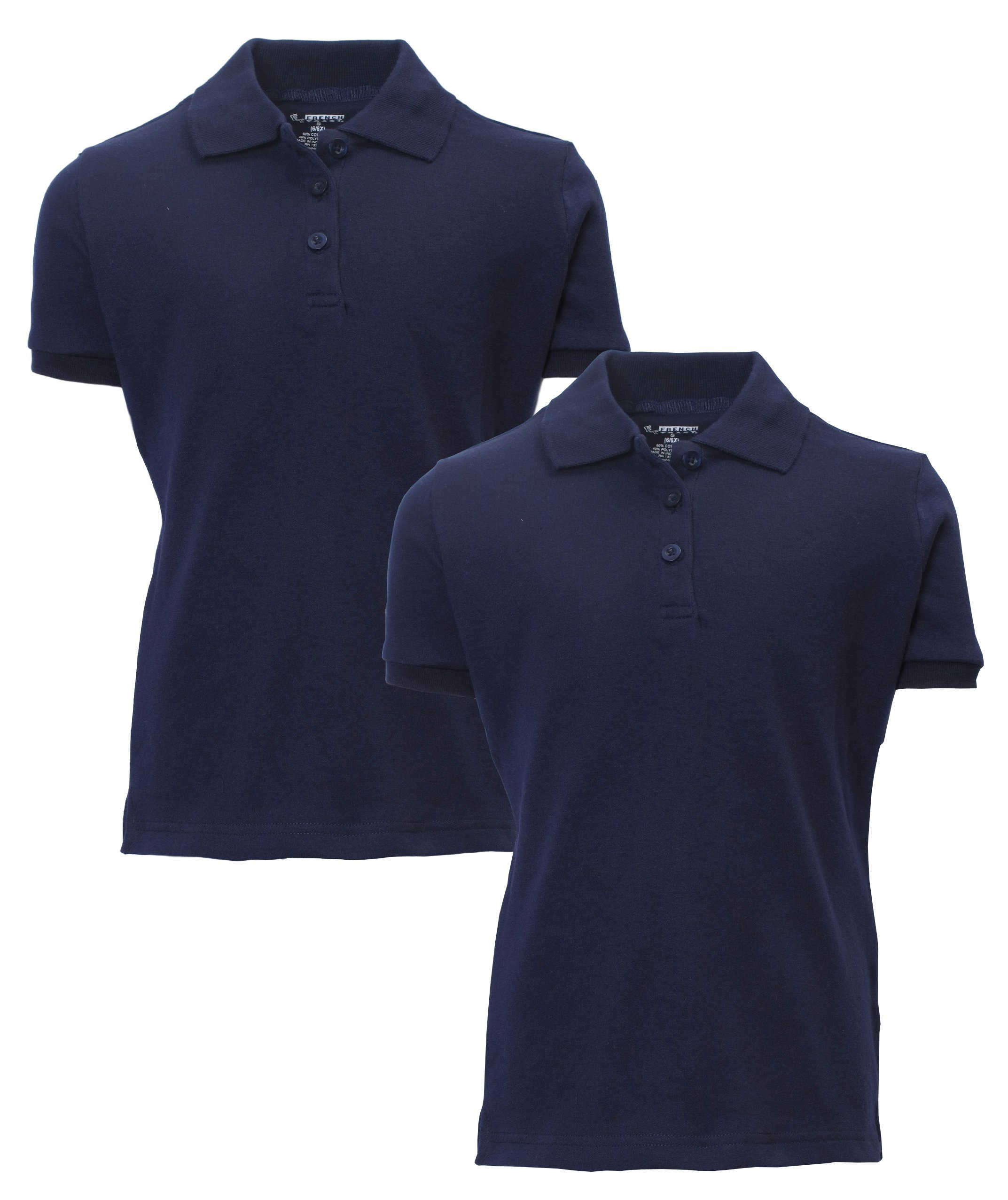 French Toast Girls 2 Pack Uniform Short Sleeve Polo Shirts,Navy,Large 10/12