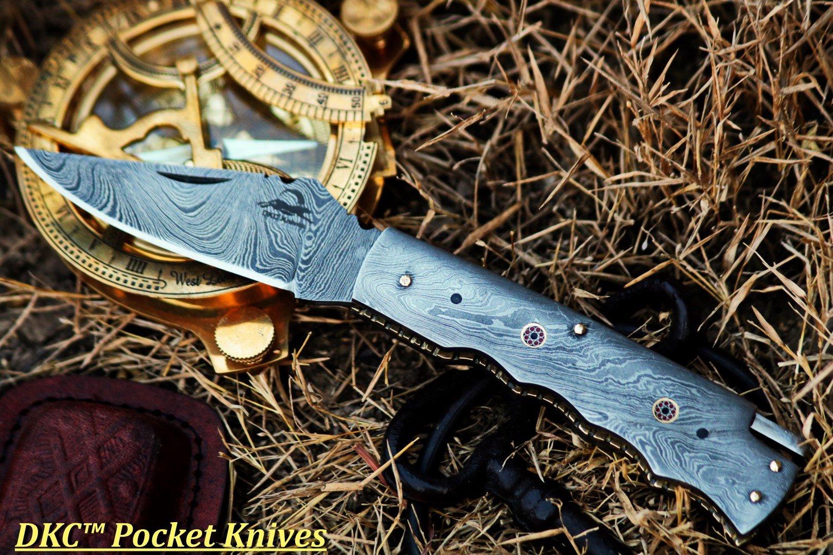 DKC Knives (2 8/18) Sale DKC-200 Moonraker Pocket Folding Damascus Hunting Knife 8'' Long, 3.25'' Blade 4.75'' Folder 10oz Work of Art !