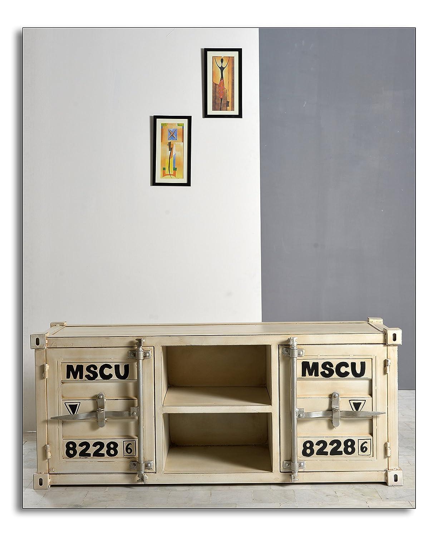 TV-Lowboard Schmiedeeisernes Blech, lackiert cremeweiß