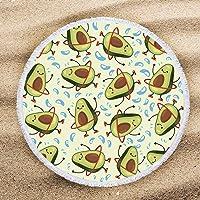 ARIGHTEX - Toalla de Playa de Aguacate Verde con Estampado de Frutas, Manta de Playa para niños y niñas, con borlas