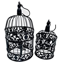 PET SHOW Pack of 2 Round Birdcages Decor Metal Wall Hanging Bird Cage for Small Birds Wedding Party Indoor Outdoor…