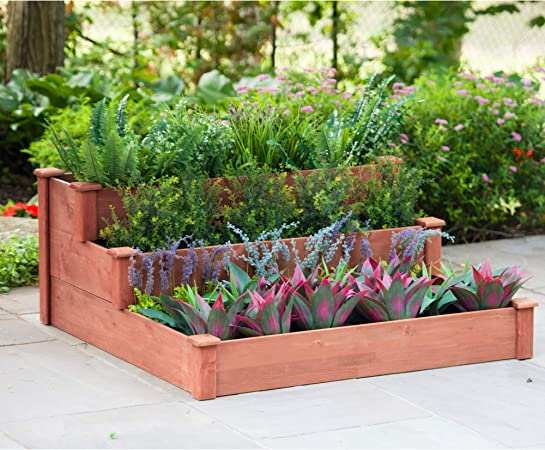 Leisure Season 3-Tier Raised Garden Bed Vegetable, Herb or Flower Garden on raised tree planter, raised box planter, raised rectangle planter, raised bamboo planter,