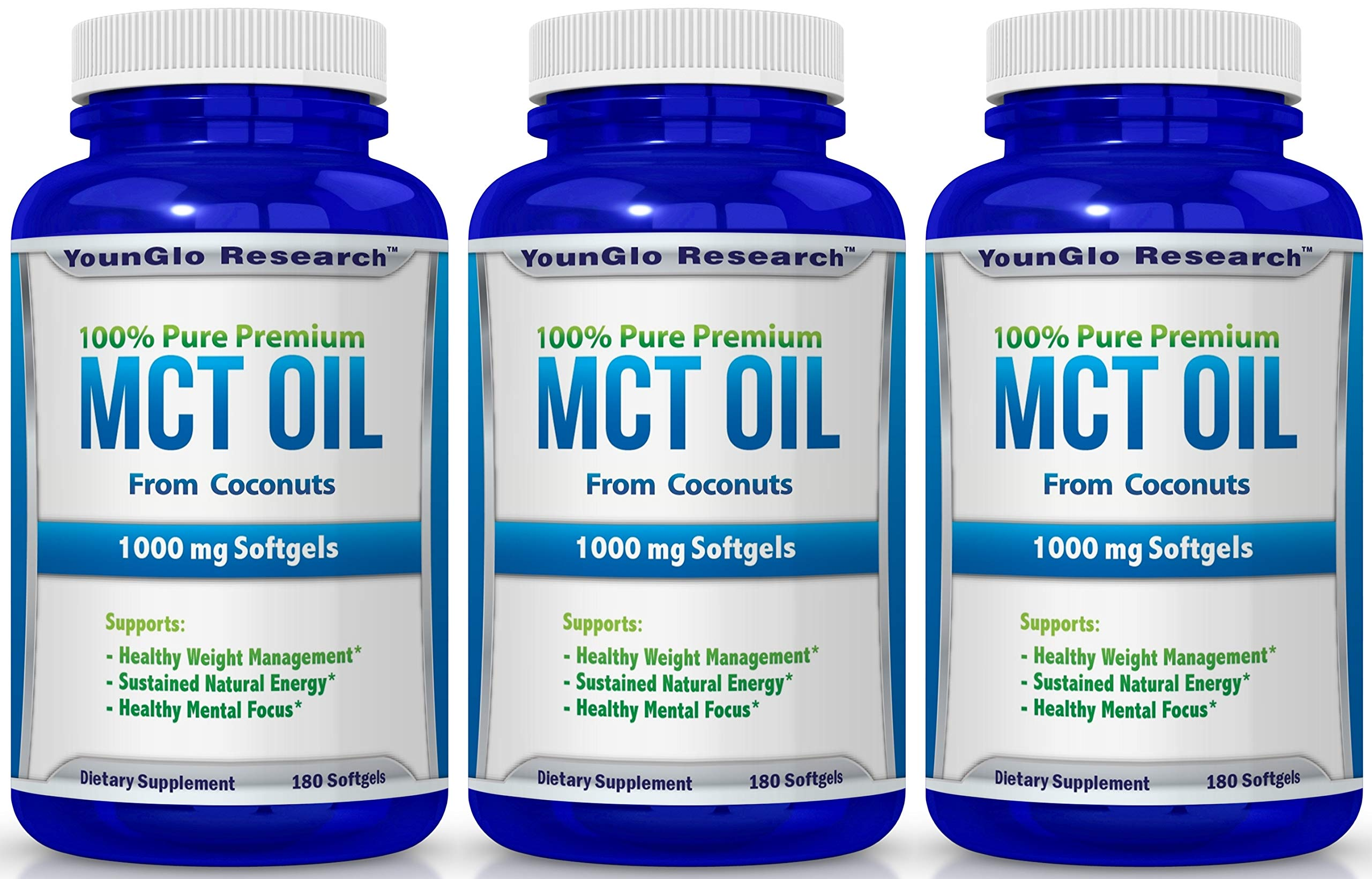 MCT Oil Capsules 100% from Coconuts - 1000 mg 180 Softgels - Great Pills for Energy and Weight Management (3 Pack)