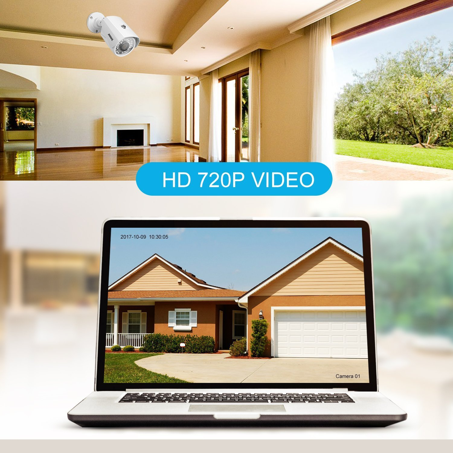 ANNKE 8CH 1080P Lite HD-TVI Surveillance DVR Camera System and 4x1.0MP Indoor/Outdoor Weatherproof Day/Night Metal CCTV Camera, NO Hard Drive Included by ANNKE (Image #5)