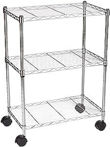 AmazonBasics 3-Shelf Shelving Unit on Wheels - Chrome (Certified Refurbished)