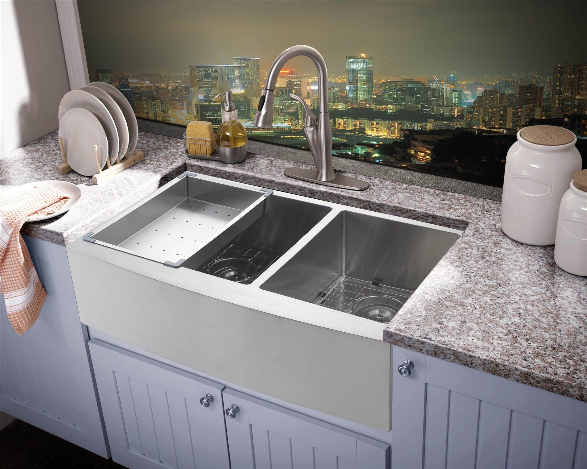 33x21 Inch Farmhouse Apron 60/40 Deep Double Bowl 16 Gauge Stainless Steel Luxury Kitchen Sink SuperSuper
