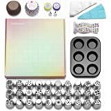 NEEDEED Russian Piping Tips Set (258 pcs), Icing Tips Russian Tips Baking Supplies Set, 32 Icing Nozzles Extra Large Cake Cupcake Decorating supplies.