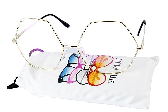 79e140a6e581 WM3097-VP Style Vault Octagon Metal clear lens sunglasses (B3294F Gold-Clear )