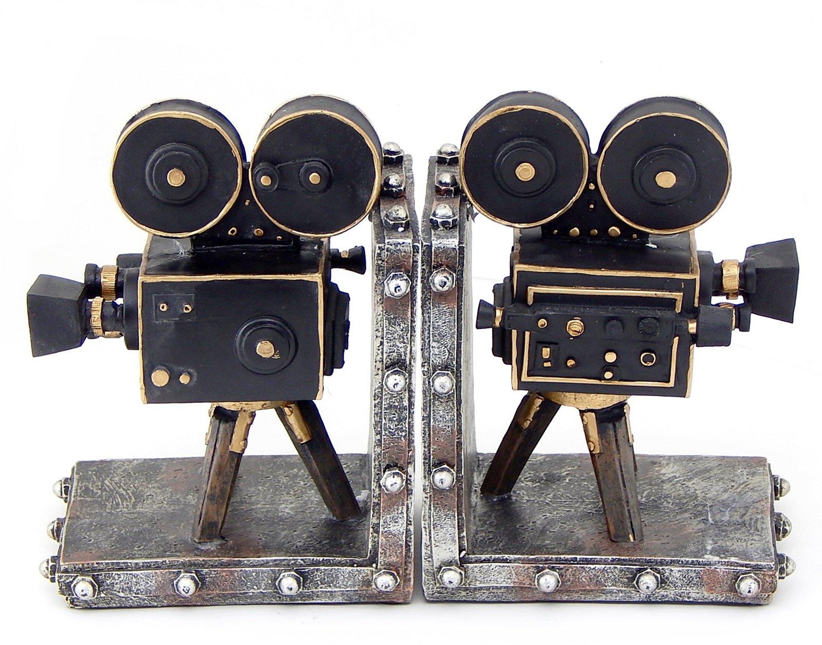 Bellaa 26287 Camera Bookend Set Vintage Old-Style Movie Film