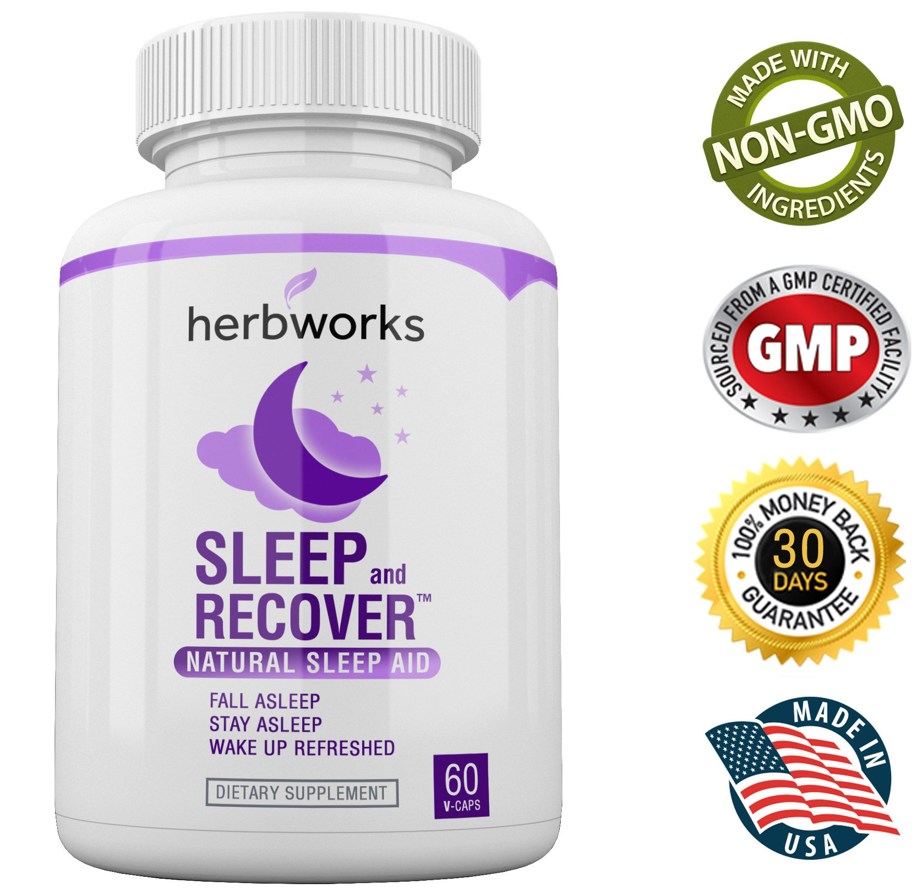 Sleep and Recover - Natural Sleep Aid - Non Habit Forming - 60 V-Capsules by HerbWorks (Image #5)