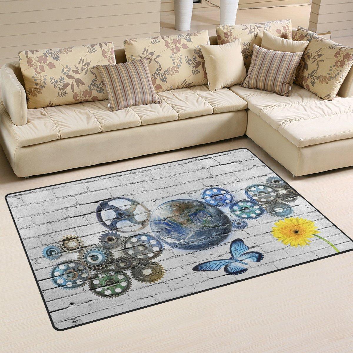 WellLee Area Rug,Gear Wall Floor Rug Non-Slip Doormat for Living Dining Dorm Room Bedroom Decor 60x39 inch
