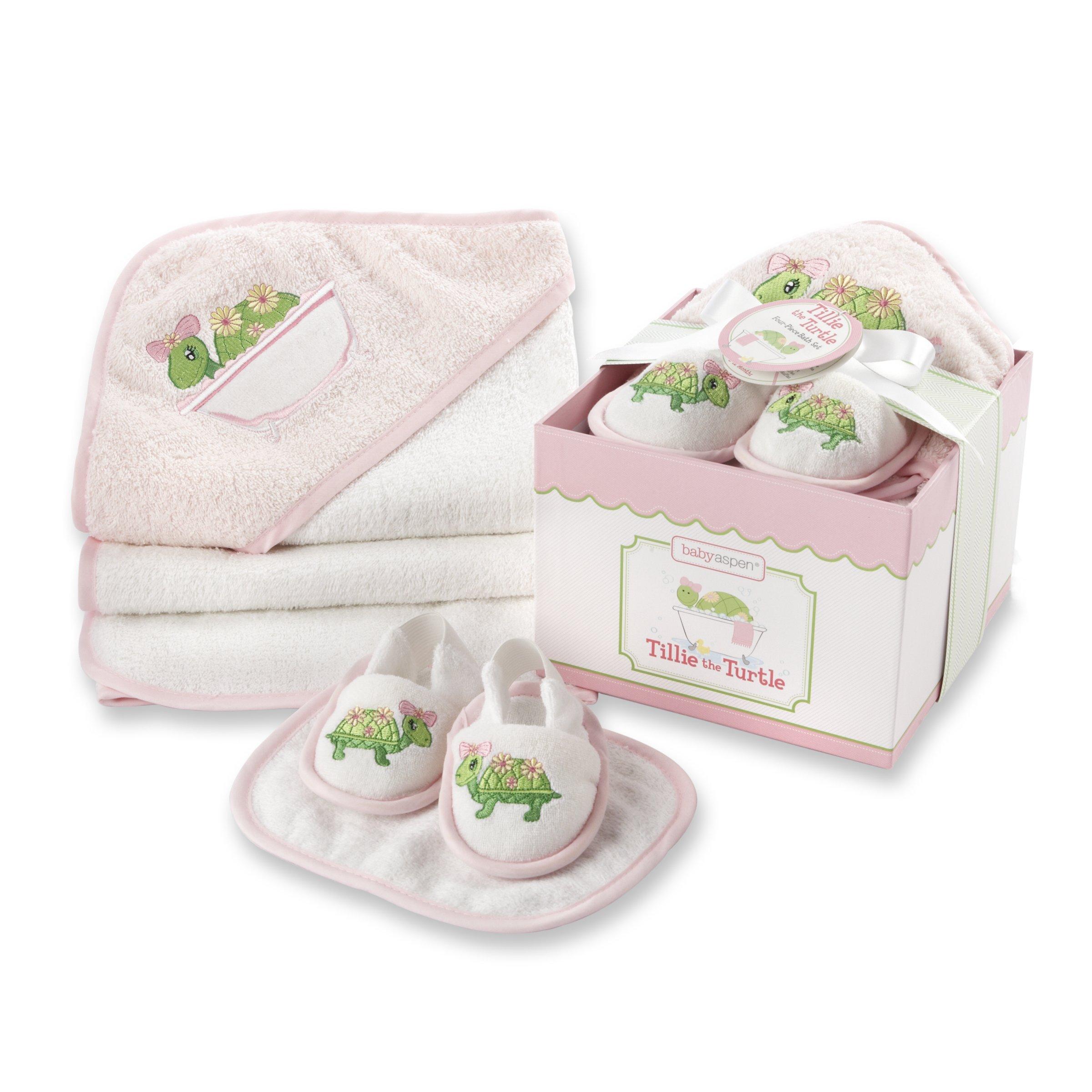 Baby Aspen, Tillie the Turtle Four-Piece Bathtime Gift Set, Pink, 0-6 Months