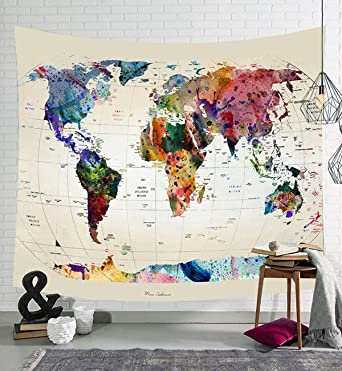 Lecoon wall hanging cloth throw tapestry world map printing home lecoon wall hanging cloth throw tapestry world map printing home decor beach swim bath towel wrap publicscrutiny Gallery