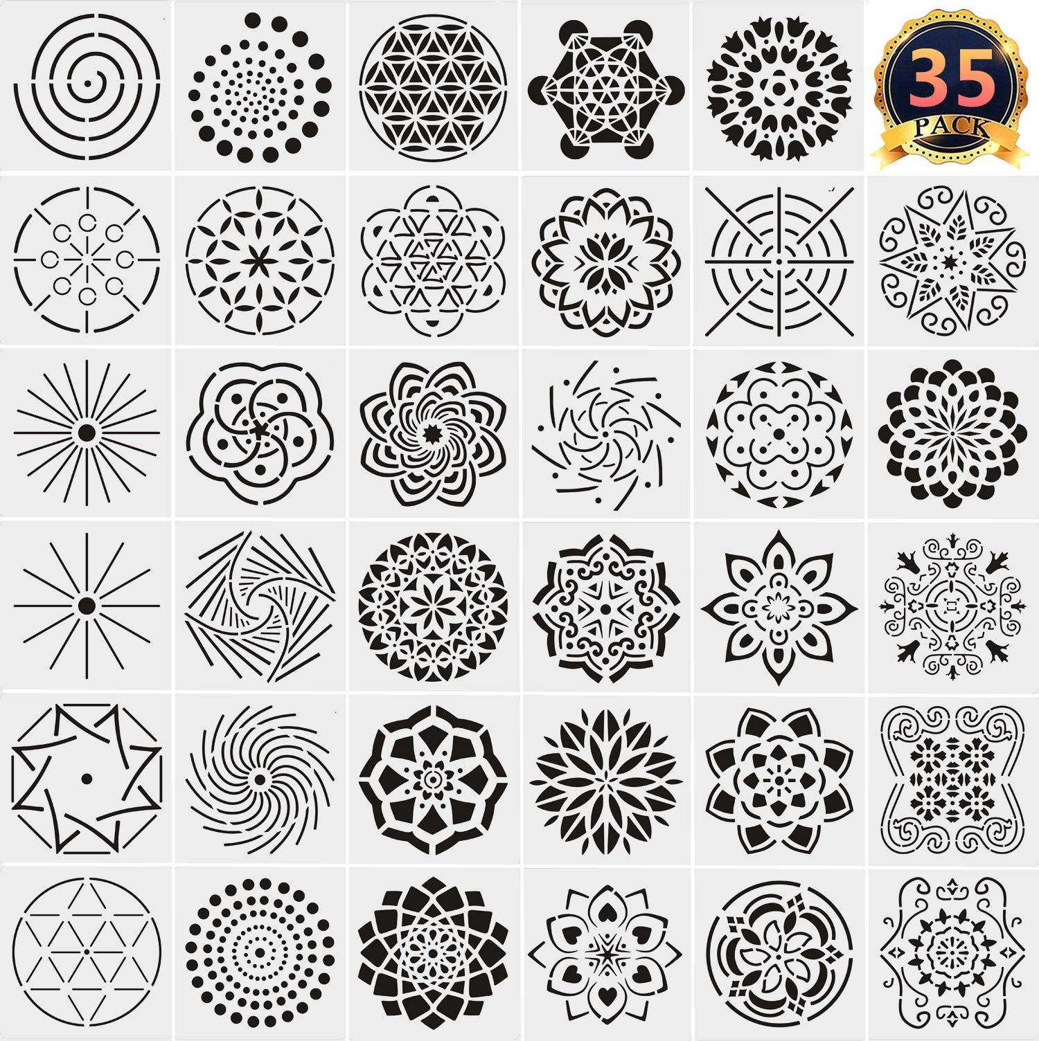 35 Pack Mandala Dotting Stencils Template, Mandala Dotting Stencils Mandala Dot Painting Stencils Painting Stencils for Painting on Wood, Airbrush and Walls Art by Feeke