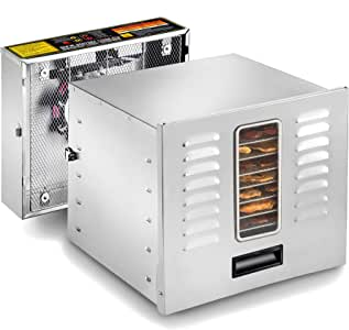 STX International STX-DEH-1200W-XLS Dehydra Commercial Grade Stainless Steel Digital Food Dehydrator - 10 Trays - 1200 Watts - 165 Degree Fahrenheit - Jerky Safe with 15 Hour Timer