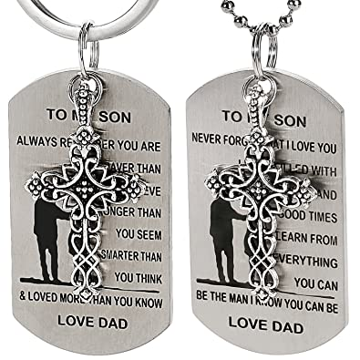 2pcs dog tag necklacekeychain w to my son inspirational quote from dad birthday