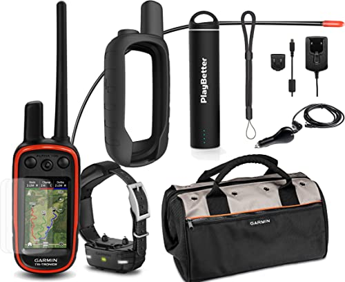 Garmin Alpha 100 TT15 Mini Combo Hunting Armor Bundle w PlayBetter Portable Charger, Silicone Case, Screen Protectors Tether Garmin Field Bag, Satellite Black Case
