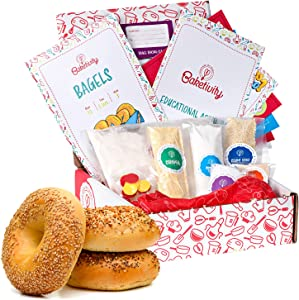 Baketivity Kids Baking Set, Meal Cooking Party Supply Kit for Teens, Real Fun Little Junior Chef Essential Kitchen Lessons, Includes Pre-Measured Ingredients (Baketivity Kit, Bagels)