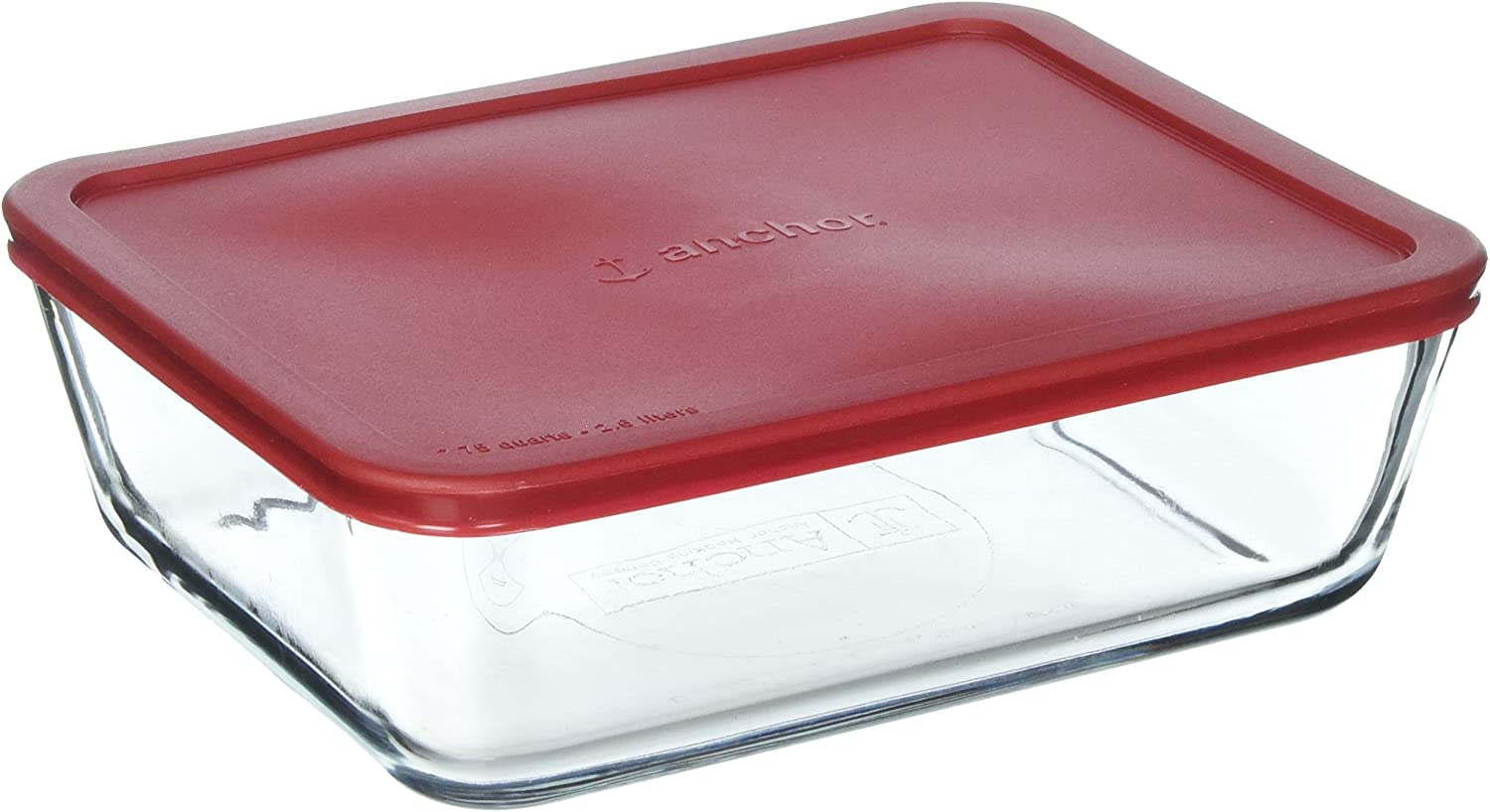 Anchor Hocking Classic Glass Food Storage Container with Lid, Red, 11 Cup, Clear, Regular - 77931