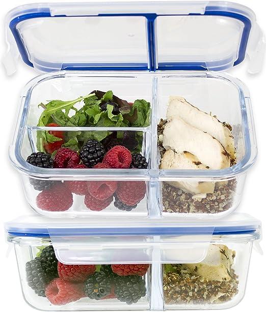 gran – Pack de 2] 3 compartimento cristal comida Prep recipientes w/divisor de nuevo sello Tech