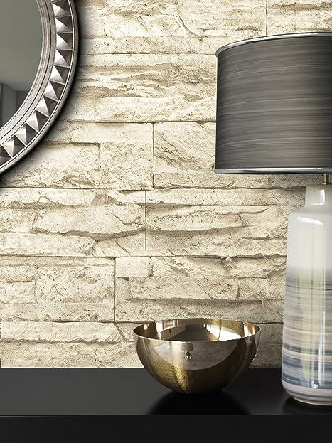 Steintapete Vlies Beige | Schöne Edle Tapete Im Steinmauer Design
