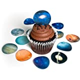 """Solar System Outer Space Planets Small 1.5"""" Edible Wafer Paper Toppers © Cake Cupcake Cookie Toppers Decoration"""