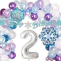 Frozen 2nd Birthday Party Supplies Girls Snowflake Balloon Garland Arch Kit Ice Princess Winter Wonderland Elsa 2 Party…