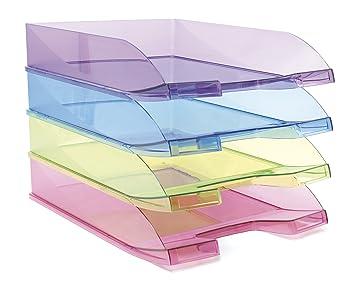 Bandeja Apilable Traslúcida Poliestireno Folio A4 256 x 348 x 66 mm Azul: Amazon.es: Oficina y papelería